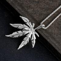Ожерелье с кулоном конопляный лист (серебро)